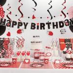 Happy Birthday σε κόκκινο και μαύρο με καρδούλες και πασχαλίτσες