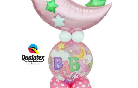 Balloon Bouquet | Baby Girl | Pink | Moon & Stars