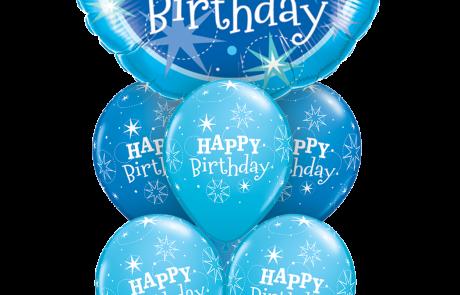 Μπουκέτο Μπαλονιών | Happy Birthday | Μπλέ | Αστεράκια